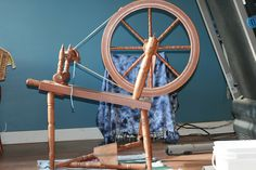 My first spinning wheel - Jorgen Almass, Enderby BC Canada, 1976 marked 125th wheel. I purchased her for 140.00 in August 2011.