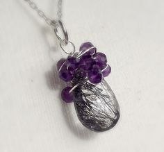 Amethyst and quartz wire wrapped necklace