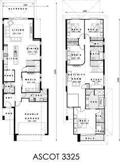 Rae: single floor, move laundry to stair area, move master to garage area. Narrow House Plans, Beach House Plans, Modern House Plans, 2 Storey House, Storey Homes, Home Design Floor Plans, House Floor Plans, Duplex Design, House Design