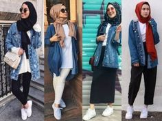 trendy hijab style for 2018 - just trendy girls denim in Hijab Casual, Hijab Chic, Stylish Hijab, Casual Ootd, Outfit Jeans, Oversized Denim Jacket Outfit, Hijab Jeans, Street Hijab Fashion, Denim Fashion