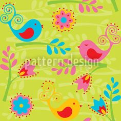 Colorful Birdsong created by Maja Tomazic offered as a vector file on patterndesigns.com Vector Pattern, Pattern Designs, Patterns, Starter Set, Coloring Easter Eggs, Summer Feeling, Bird Design, Vector File, Abstract Pattern