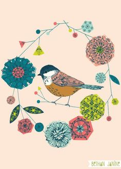 bird garland illustration by bethan janine