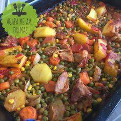 Αγάπα Με Αν...Dολμάς!: Φουρνιστό κοτόπουλο με αρακά & εύκολη τάρτα Sprouts, Vegetables, Food, Veggie Food, Brussels Sprouts, Vegetable Recipes, Meals, Veggies, Kale