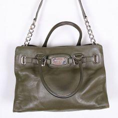 vintage MK Michael Kors dark green hand bag natural by DAMODApl