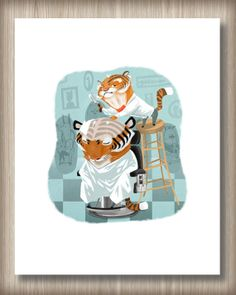 Digital+Painting+Barbershop+Tigers+Illustration+by+TheRoyalNewt,+$15.00