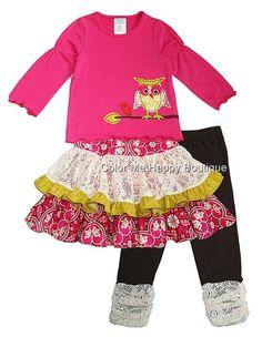 Peaches n Cream Pink Lime OWL Lace Skirt Leggings 3pc set Girls 4-6x
