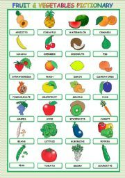English worksheet: FRUIT AND VEGETABLES PICTIONARY