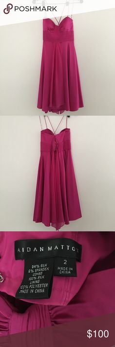 Hot pink silk Aidan Mattox dress So gorgeous on and in perfect condition. Worn once for a few hours. If this fit me, I would keep it. There's light padding in the top so no bra necessary. Aidan Mattox Dresses Mini
