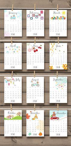 2016 calendario stampabile Doodle parete scrivania calendario illustrazioni…