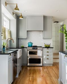 Gray Kitchen Cabinets with Soapstone Countertops and beveled Subway Tile Backsplash, Transitional, Kitchen