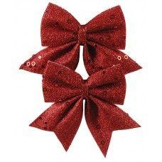 Χριστουγεννιάτικοι Διακοσμητικοί Φιόγκοι Κόκκινοι, Σετ 2 τεμ. (12cm)