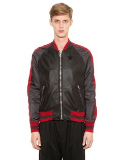 GIVENCHY Nylon & Nappa Leather Bomber Jacket, Black/Red. #givenchy #cloth #leather jackets