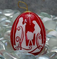 Nativity Scene on Red Background  Pysanky Chicken by EggsbyKathy