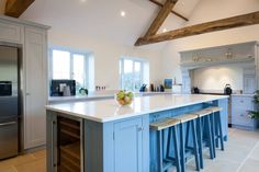 The extra large island takes focal point in our clients open plan kitchen. #Kitchenisland #kitchens #paintedkitchens #diykitchens