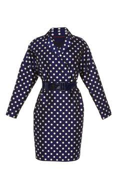 Navy Dot Belted Men's Coat by Martin Grant for Preorder on Moda Operandi