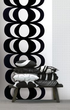 Found it at AllModern - Marimekko III Kaivo Wall Mural Black White, Black And White Design, Black Bolt, Marimekko Wallpaper, Marimekko Fabric, Or Noir, Photocollage, Wallpaper Online, Nordic Design