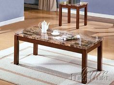 """3-pc Pack Portland Coffee Table Set W/Faux Marble Top Acs60787 by click2go. $399.99. coffee table:42""""x22""""x18""""H. 1 coffee table with 2 end table. end table:18""""x17""""x21'H. Faux Marble Top. 3-pc Pack Portland Coffee Table Set. some assembly maybe required."""