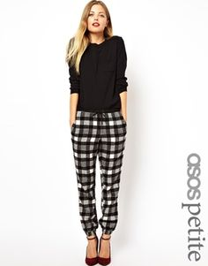 Image 1 of ASOS PETITE Exclusive Pants In Plaid  Check