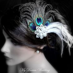 Peacock  Fascinator . SWAROVSKI CRYSTALS Headpiece, Bridal, Wedding, Bridesmaids -ELIZABETH-