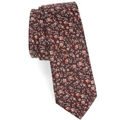 Men's Paul Smith Floral Silk Skinny Tie (1 000 SEK) ❤ liked on Polyvore featuring men's fashion, men's accessories, men's neckwear, ties, mens ties, mens silk ties and mens floral ties
