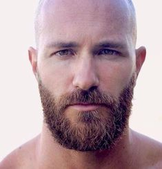 An awesomely thick moustache and beard - I wish I could achieve that style. Bald Men With Beards, Bald With Beard, Black Men Beards, Beard Fade, Sexy Beard, Hairy Men, Bearded Men, Trimmed Beard Styles, Faded Beard Styles