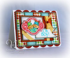very fun and bright baby twin card.