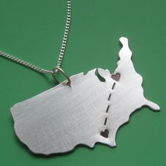 Long Distance Love Customizable Map Necklace by sudlow on Etsy, $68.00