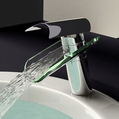 Glass Waterfall Bathroom Sink Faucet modern bathroom faucets for my upstairs bathroom - must have!
