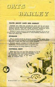 Farmersgirl Kitchen: Oats and Barley, Ministry of Food Leaflet No. 22