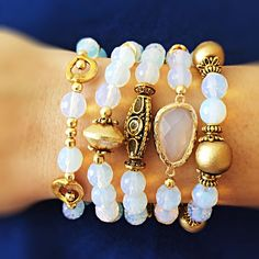 White opal gemstone and gold beads bracelet