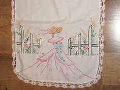 Vintage Embroidered Dresser Scarf Pretty Colonial Lady Crocheted Lace Edge | eBay