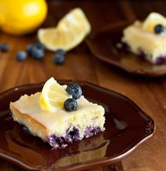 Blueberry Lemon Brownie With White Chocolate Glaze #Food #Drink #Trusper #Tip
