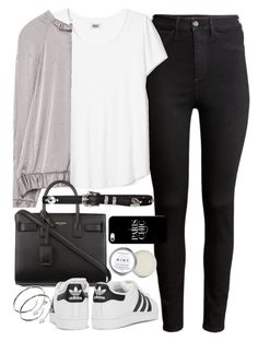 """""""Outfit for college with a bomber jacket and Adidas sneakers"""" by ferned on Polyvore featuring H&M, Zara, Yves Saint Laurent, adidas Originals, Cartier, Herbivore and Casetify"""