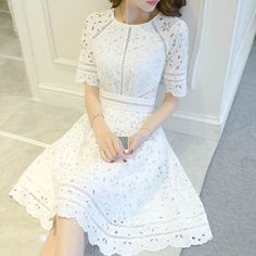 White Lace Homecoming Dresses,A-line Summer Dresses,Short Prom Dresses on Storenvy Summer Dresses 2017, Short Summer Dresses, White Dress Summer, Simple Dresses, Cute Dresses, Vintage Dresses, Casual Dresses, Fashion Dresses, Short Sleeve Dresses