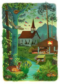 """vintage illustrationen und animationen, neu interpretiert nach Eugen Hartung (1897-1973), für die gleichnamige app zum bekannten schweizer kinderliederbuch """"chömed chinde mir wänd singe"""" in zusammenarbeit mit der agentur allink: die drei lieder """"i ghöre es glöggli"""", """"jungi schwan und äntli"""" und """"es schneieled es beeilet""""  mega jöö! appstore:HTTPs://itunes.apple.com/ch/app/chomed-chinde/id932107569?mt=8 Amadeus Waltenspühl"""
