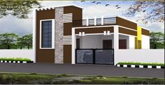Tokeo la picha la elevations of independent houses House Front Wall Design, Single Floor House Design, House Outside Design, Village House Design, Front Porch Design, Bungalow House Design, Modern House Design, Door Design, Gate Design