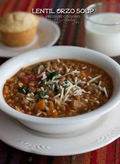 Peessure cooker lentil and orzo soup. A warm, thick, hearty soup loaded with lentils, orzo and veggies. Pressure Cooking Today, Pressure Cooking Recipes, Slow Cooker Recipes, Cooking Tips, Chowder Recipes, Soup Recipes, Vegetarian Recipes, Healthy Recipes, Chili Recipes