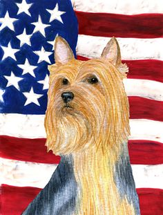 American Flag with Silky Terrier 2-Sided Garden Flag