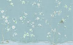 Chanteur Blue is a classic Chinoiserie with spring blossoms and birds.