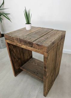 Characterful Reclaimed Bedside Table LAUAKE , Hand made Boho Side Table Nightstand, End Table, Plant Stand, Reclaimed Wood Nightstand, Wooden Bedside Table, Reclaimed Wood Furniture, Recycled Furniture, Pallet Furniture, Rustic Furniture, Diy Bedside Tables, Salvaged Wood, Bedside Desk