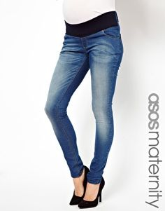 Image 1 of ASOS Maternity Skinny Jean In Light Vintage Wash With Stretch Waistband