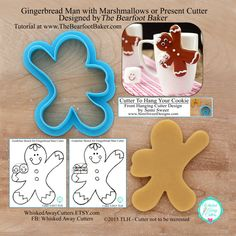 Gingerbread Man with Marshmallows or Present Cookie Cutter & Fondant Cutter By The Bearfoot Baker - Tutorial Link - Guideline Sketches Below
