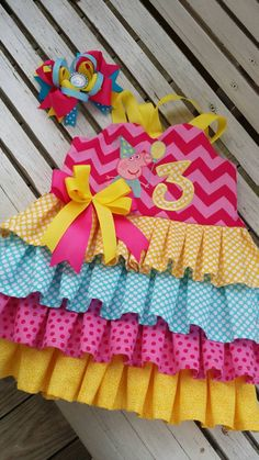 peppa pig inspired ruffle birthday dress with by bdaysmash