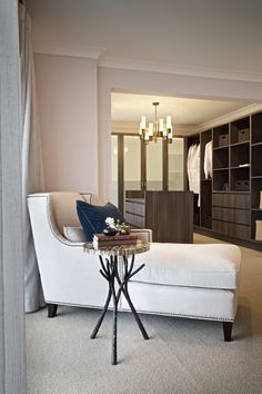 Clarendon Homes. Armadale Master bedroom side chair looking into the luxurious dressing room. Modern Master Bedroom, Master Suite, Clarendon Homes, Display Homes, Grand Staircase, Luxurious Bedrooms, Side Chairs, Modern Design, Home And Family