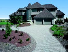 Concrete paver driveway Driveway Landscaping, Concrete Pavers, Iron Gates, Driveways, Curb Appeal, Sidewalk, Mansions, Landscape, Architecture