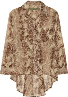 I like this.....  Love this: Snake Print Chiffon Blouse @Lyst