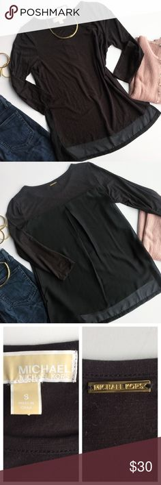 - MICHAEL KORS - Black Long Sleeve Tee Sheer Back This long sleeve tee has the ultimate surprise, a pleated sheer back! Wear with statement jewelry, nude heels and a bralette for a sexy statement when you turn around for a fun night out. Excellent pre-loved condition, no flaws.        🔸Bundle & Save 15% on 2+ items!                         🔸Free gift on purchases over $100!                    🙅🏼No trades / selling off of Posh.                         🌟Offers always welcome!🌟 Michael…
