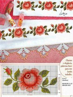 "Photo from album ""Punto Cruz"" on Yandex. Cross Stitch Rose, Cross Stitch Borders, Cross Stitch Flowers, Cross Stitch Charts, Cross Stitch Designs, Cross Stitching, Cross Stitch Embroidery, Embroidery Patterns, Hand Embroidery"