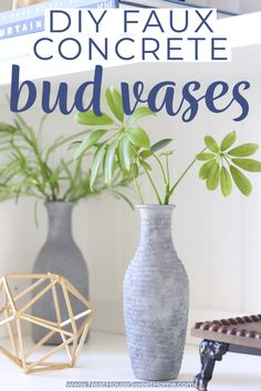 DIY faux farmhouse stoneware from thrift or dollar store vases. Make these DIY faux concrete vases in under an hour from cheap vases. #dollarstorecraft #diyfarmhousedecor Dollar Store Crafts, Dollar Stores, Cheap Vases, Diy Home Decor On A Budget, Bud Vases, Decoration, Stoneware, Thrifting, Concrete