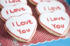 """I love you"" cookies for Raggedy Ann Party"